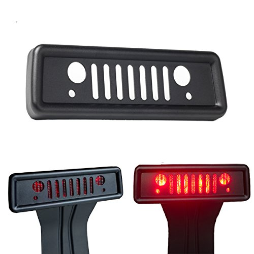 Airisland Brake Light Cover for Jeep Wrangler Third Tail Light Cover Rear Lamp Protector for 2007-2017 Jeep Wrangler JK and JKU Unlimited Accessories Durable Aluminum with Black Coating Finish V2.0