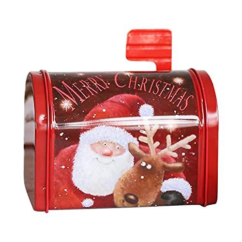 Almabbg Briefkasten Design Weihnachtsmann Briefkasten Süßigkeitenschachtel, kreative Schmiedeeisen Weihnachts-Briefkasten, personalisierte Weißblech-Box, festliche Dekoration für Kinder