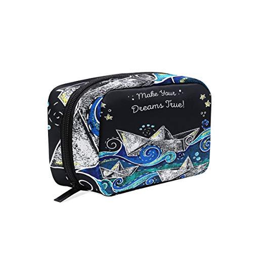 Bolsa de maquillaje de papel náutico para barco de maquillaje pequeña bolsa pequeña bolsa de maquillaje para mujeres y niñas neceser organizador con compartimentos accesorios de viaje