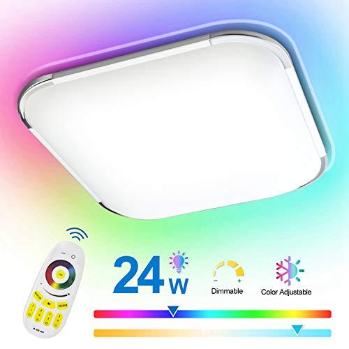 Hengda 24W RGB LED Deckenleuchte, Deckenlampe 2700K-6500K Dimmbar, Wohnzimmerlampe inkl. Fernbedienung, Schlafzimmerlampe, Küchenlampe, IP44 Schutzart