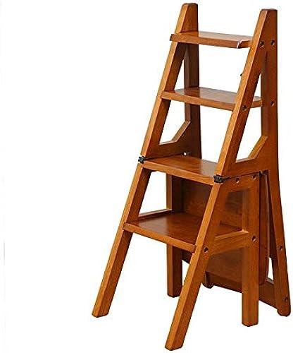 XITER-Trittleiter Amerikanischer faltender Treppen-Stuhl-festes Holz 4 Schritt-Leiter-Hocker, MehrzweckBlaumengestell-doppelter Zweck Regal-Schemel-hoher Leiter-Stuhl (Farbe   B)