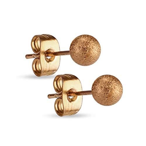 Treuheld® | Diamant-Optik Rose-Gold Kugel Ohrstecker - Edel-Stahl Ohr-Ringe mit Matter Kugel - Kugel: 3, 4, 5, 6, 7, 8, 10 mm - sandgestrahlt - Männer & Frauen - Steck-Verschluss - [02.] - 4mm