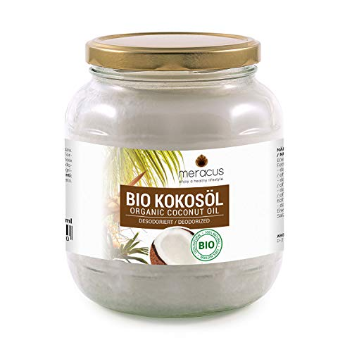 meracus Bio Kokosöl, Geschmacksneutral (desodoriert) im Glas, 1er Pack (1 x 1 l)