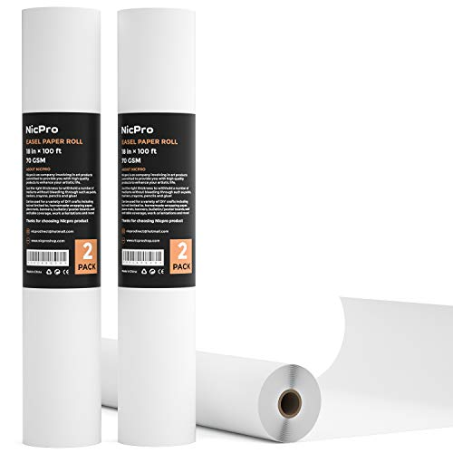 Nicpro Kid Easel Paper Roll 2 Pack 18-Inch, 100 Feet / Roll White for Toddlers Craft Activity Finger Painting Multi Drawing