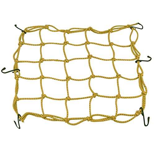 Sebasty 40cmx40cm Motorcycle Heavy duty Elasticated Bungee Luggage Cargo Net with 6 Hooks for Motorcycle ATV Bike Car Truck Red,Yellow