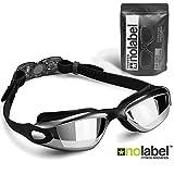 NO LABEL Black Swimming Goggles - Anti Fog Swim Goggles With UV Protection