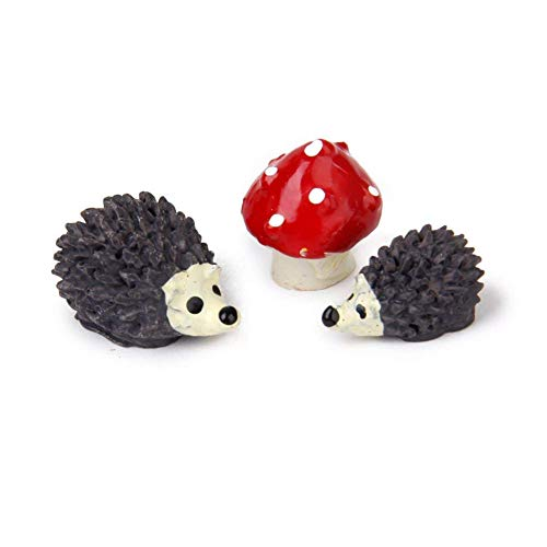 Xiton Miniatur-Gartenfee-Ornament Blumentopf Blumentopf Heimdeko, Igel und Pilz Set