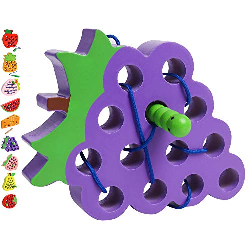 Skrtuan Wooden Lacing Grape Threading Toys Wood Block Puzzle Car Airplane Travel Game Montessori Early Development Fine Motor Skills Educational Gift for 3+ Years Old Toddlers Baby Kids