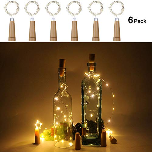 Anpro 6 Pack Wine Bottle Lights, Warm White Cork Lights String Lamp by 3A Battery Operated, for Christmas Party, DIY Decor Party and Wedding