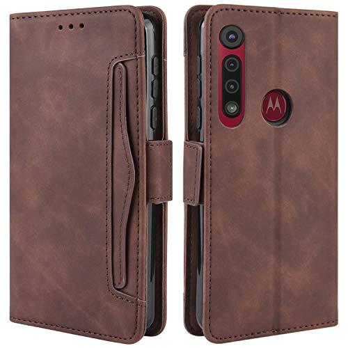 HualuBro Handyhülle für Motorola One Macro Hülle, Moto G8 Play Hülle Leder, Flip Hülle Cover Stoßfest Klapphülle Handytasche Schutzhülle für Motorola One Macro Tasche (Braun)