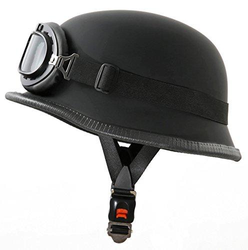 ATO WH1 Motorradhelm im Wehrmacht Style mit Fliegerbrille Größe L 59 bis 60cm