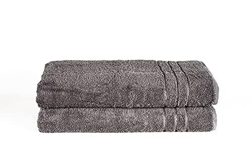 Komfortec 2er Saunatücher-Set   Saunatuch   80x200 cm   100% Weiche Baumwolle   Ausbleichsicher   Schnelltrocknend   Towel Set   Sauna Handtuch   Duschtuch Badetuch   Bath Sheets   Anthrazit Grau