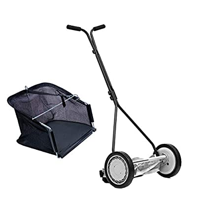 Great States 415-16 16-Inch 5-Blade Push Reel Lawn Mower & Grass Catcher Bundle