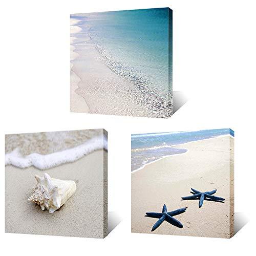 Artsbay 3 Piece Canvas Wall Art Beach Picture Tropical Blue Sea Starfish Sand Seascape Painting Modern Artwork Framed for Home Bedroom Bathroom Decoration 12' x 12' x 3 Piece