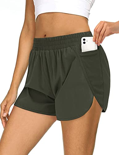 MEROKEETY Womens Athletic Quick-Dry Workout Shorts Elastic Waist Dolphin Running Pockets Shorts Green