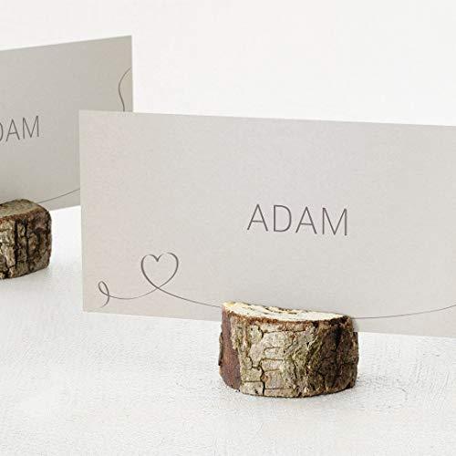 sendmoments Tischkarten Hochzeit personalisiert, Herz Geschwungen, 10er Set Einfachkarten mit Holzhalter, einzeln individualisiert mit den Namen der Gäste, Tischdeko