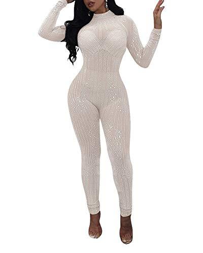 ZiXing Damen Elegant Sequins Glitzer Jumpsuits Pailletten Bodysuit Rompers Jumpsuit Overalls Weiß L