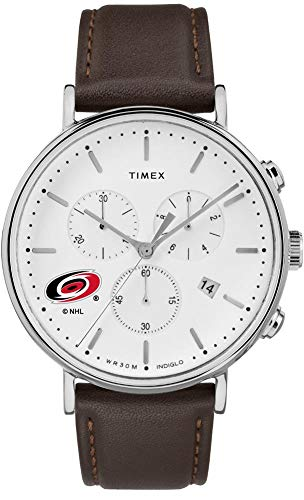 Timex Mens Carolina Hurricanes Watch Chronograph Leather Band Watch