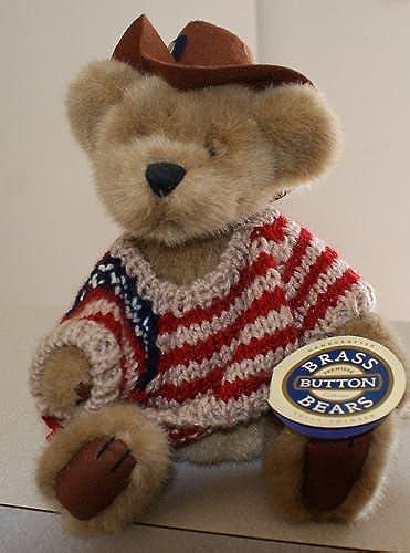 Brass Button Bears  Cody 11 w  striped shirt braun hat