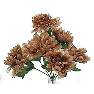 5 Mums Coffee Brown Wedding Bridal Bouquet Silk Flowers Bush Table Centerpieces