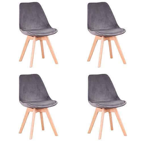 GrandCA HOME Conjunto de 4 sillas, Silla de Comedor, Silla de Estilo nórdico, Adecuada para Sala de Estar, Comedor (Gris Terciopelo)