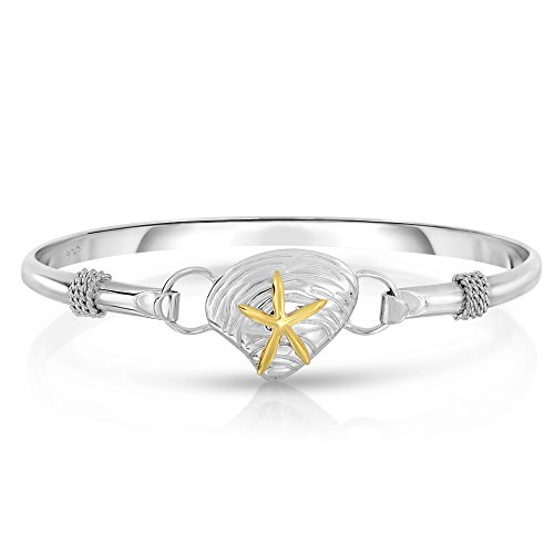 Unique Royal Jewelry Ocean Side Sterling Silver Nautical Interchangeable Bangle (Size 7.5)