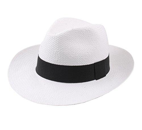 Classic Italy - Chapeau Panama Paille - 3 Coloris - Homme ou Femme Classic Paille Large - Taille 54 cm - Blanc