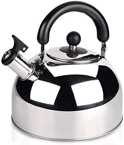 Bouilloire gaz Durable Stovetop Whistling Kettle anti-échaudage en acier inoxydable Poignée Épaissie Bas for tous Hob Poêle UOMUN (Color : Bright, Size : 5L)