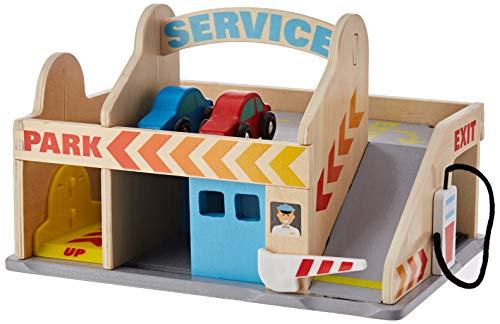 Melissa&Doug Tankstelle mit Parkhaus | Fahrzeuge und Züge aus Holz | LKWs und Fahrzeuge | 3+ | Geschenk für Jungen oder Mädchen