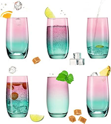 PLATINUX Trinkgläser Rosa-Türkis aus Glas Bunt 300ml (max.370ml) Set 6 Stück Wassergläser Saftgläser Longdrinkgläser