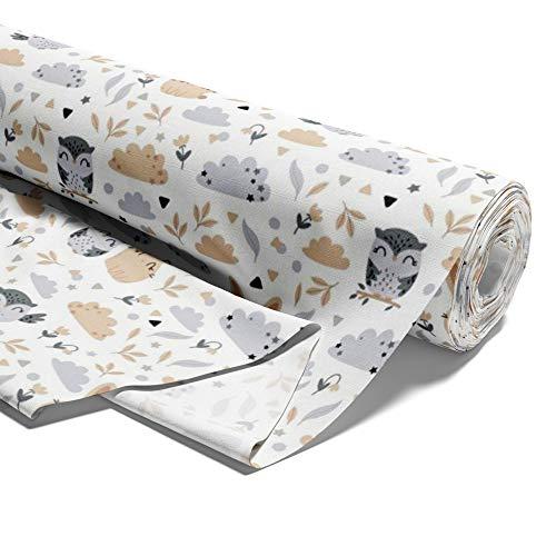 Amazinggirl Baumwollstoff Sterne Meterware weiß Stoff aus 100% Baumwolle - Stoffe zum Nähen Nähstoffe Uni Baumwollstoffe Öko-Tex Standard 100 grau-weiß mit Sternen (Eulen, 100)