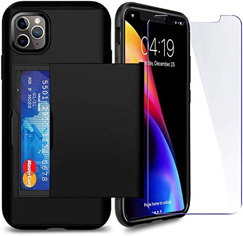 SUPBEC Compatible for iPhone 11 Pro Max Case with Card Holder and[ Screen Protector Tempered Glass x2Pcs][ Protective Series] Shockproof Silicone for iPhone 11 ProMax Wallet Case Cover-Black-6.5""