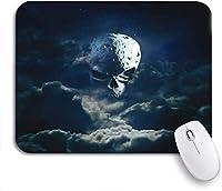 ROSECNY 可愛いマウスパッド リーパームーンライジング3Dレンダーのクレーター付きスカルノンスリップラバーバッキングマウスパッド、ノートパソコン、マウスマット