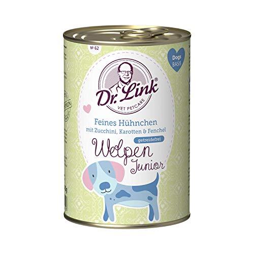 Dr. Link Welpen Junior Feines Hühnchen mit Zucchini, Karotten und Fenchel |6 x 400 g | Nassfutter für Junghunde