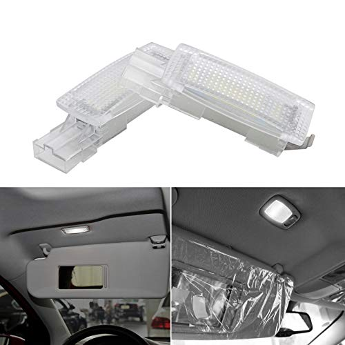 JoaSinc Iluminación Interior de Coche LED, sol Visera Espejo LED Bombillas Compatible con V-W/Go-lf/Pas-sat/Po-lo/Sko-da, luz LED para automóvil Luz interior, coche interior parasol espejo luz, 2 PCS