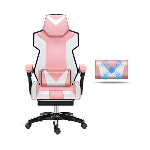 N/Z Tägliche Ausrüstung Stuhl Drehstuhl Videospielstuhl Ergonomie Computer Stuhl Heben Rotation Gestänge Armlehne mit Fußstütze Liegender Bürostuhl Massagekissen Ganz Schwarz