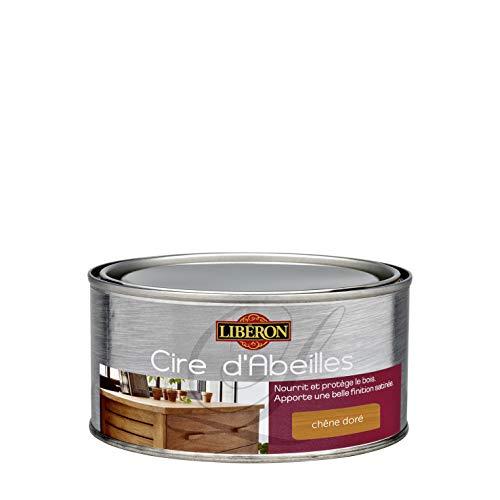 LIBERON Cire d'abeille bois en pâte - protège le bois de l'eau et des tâches -Nourrit le bois, Chêne doré, 500mL