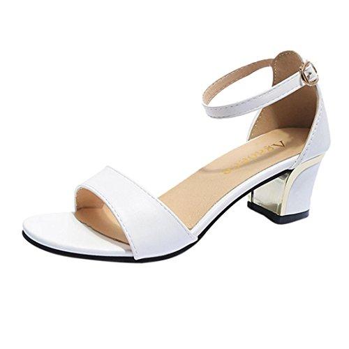 Liquidación! Covermason Verano Mujer Zapatos Bombas de punta estrecha Zapatos Tacones altos Zapatos de barco Zapatos de boda(35 EU, Blanco)