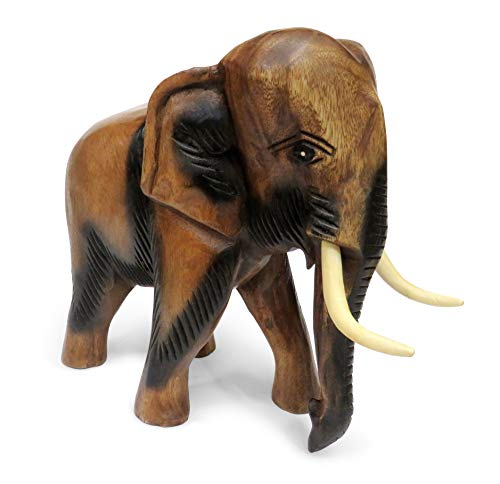 Purity Style Wooden Elephant Ornament Carved Walking (Extra Large 28cm)