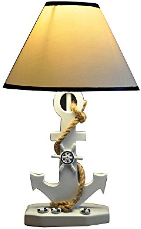 YU-K Pastorale mediterrane Cute Schlafzimmer Kind Harz Stiefel Anker Tischleuchte Nachttisch Lampe 42  25 cm, Druckschalter [Energieklasse A++]
