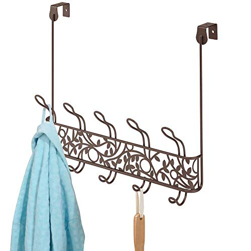 mDesign Perchero de puerta de metal en estilo vintage – Colgador para puerta con 10 ganchos para pasillo y baño – Cuelga ropa compacto para abrigos, chaquetas, albornoces y toallas – color bronce