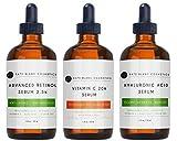 Anti Aging Serum Combo Pack by Kate Blanc - 98% Natural, 72% Organic. Vitamin C Serum 20%, Retinol Serum, Hyaluronic Acid Serum. Anti Wrinkle Serum & Dark Spot Corrector for Face