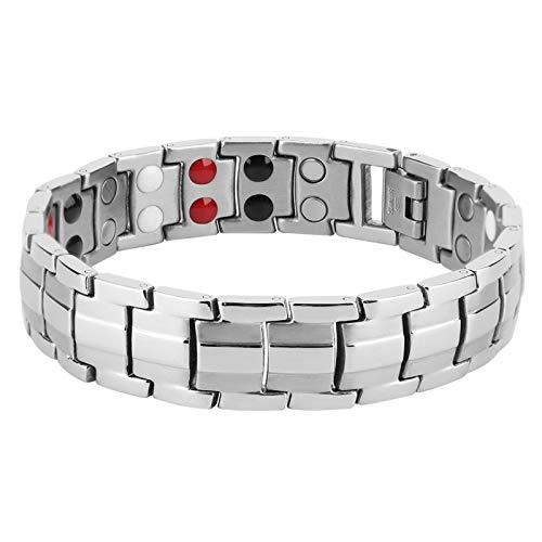 Pulsera de titanio para terapia magnética para hombres, pulsera de acero ajustable magnéticamente para moda, germanio, pulsera antifatiga de acero de