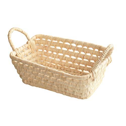 Chahu Cesta de paja natural con la cesta tejida a mano de la flor de la cesta seca mimbre tejida cesta de la fruta
