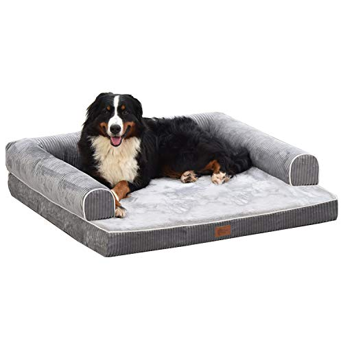 AcornPets® B-1412 Ultimate Extra Large Grey 10 CM Solid Memory Foam Orthopaedic Dog Sofa Bed Fleece 110 x 95 CM For Large Dogs, Premium Corduroy and Smooth Velveteen Fabric, Detachable and Washable
