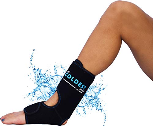 The Coldest Foot Ankle Achilles Pain Relief Ice Wrap with 2 Cold Gel Packs | Best for Achilles Tendon Injuries, Plantar Fasciitis, Bursitis & Sore Feet Built for Cold Therapy (Black XS-XL)…