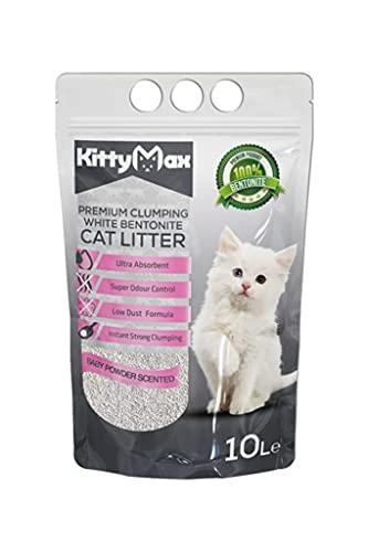 KittyMax Klumpstreu Katzenstreu-Super Premium Babypuder 2 x 10L 100% Bentonite