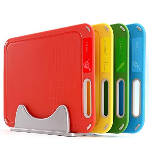 Schneidebrett aus Kunststoff, 4er-Set mit Aufbewahrungsständer, farbig verpackt, BPA-frei, verhindert Kreuzkontamination verschiedener Lebensmittelarten, spülmaschinenfest