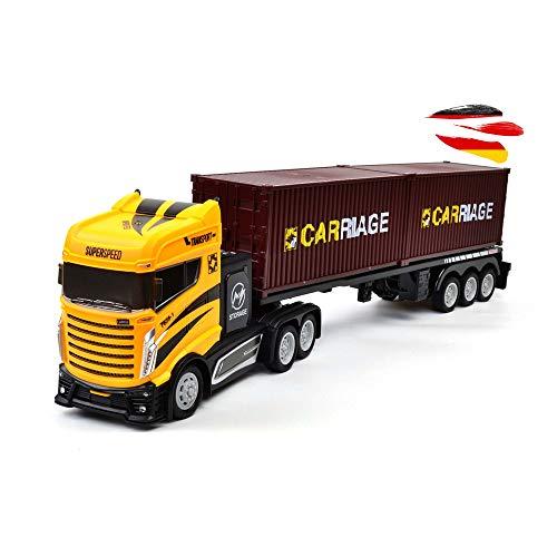 Himoto HSP RC Ferngesteuerter Sattelschlepper mit Container und viel Zubehör, inkl. Radaranlage, Ampel und Verkehrsschilder, LKW, Truck, Auto, Fahrzeug im 1:16 Maßstab