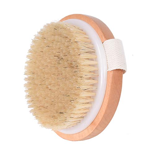 Waitrose Body Brush For Dry Brushing Natural Bristle Round Exfoliating Brush For Cellulite And Lymphatic,Gentle Exfoliating For Softer, Wooden Dry Or Wet Brushing